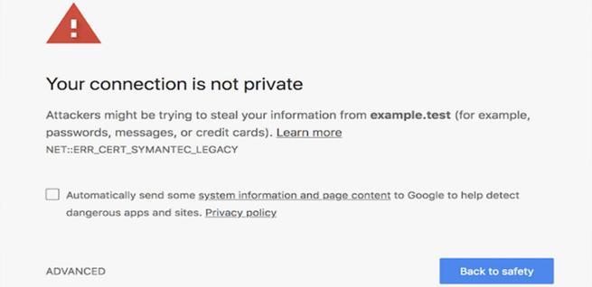 Mensaje de seguridad en Google Chrome
