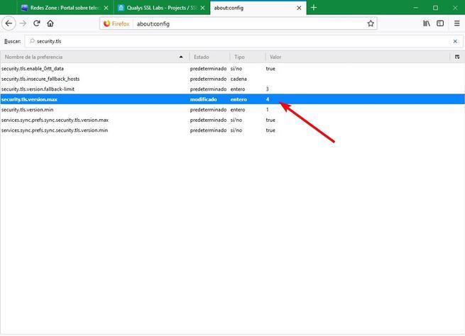 Activar TLS 1.3 Firefox