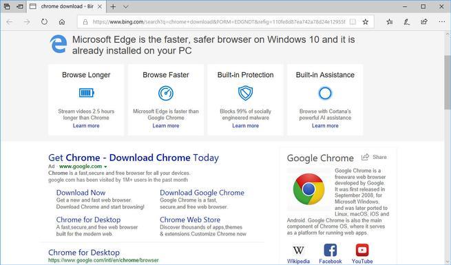 Bing anuncio descargar Google Chrome