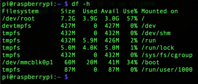 Espacio libre Raspberry Pi
