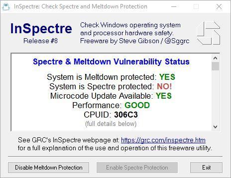 InSpectre Actualización Microcódigo