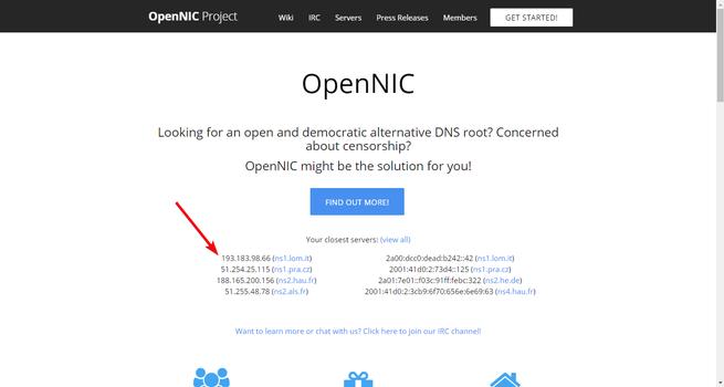 OpenNIC Servidores DNS