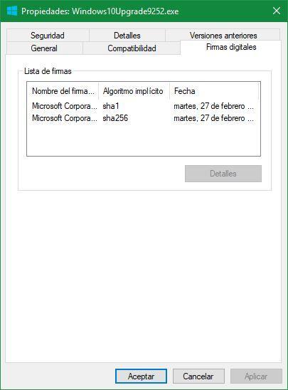 Propiedades archivo Windows 10 - Firmas digitales