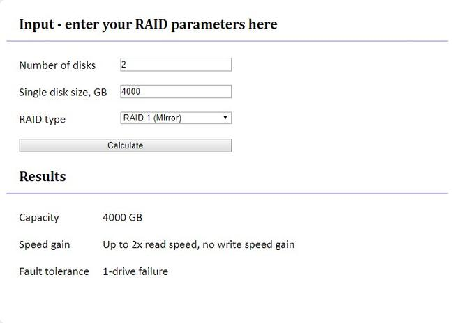 RAID Calculator - RAID1