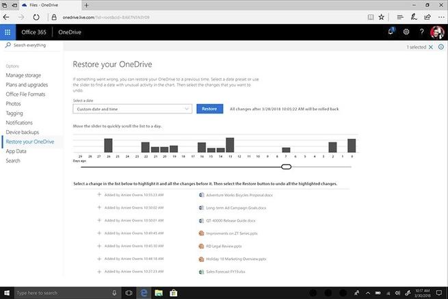 Restaurar archivos OneDrive