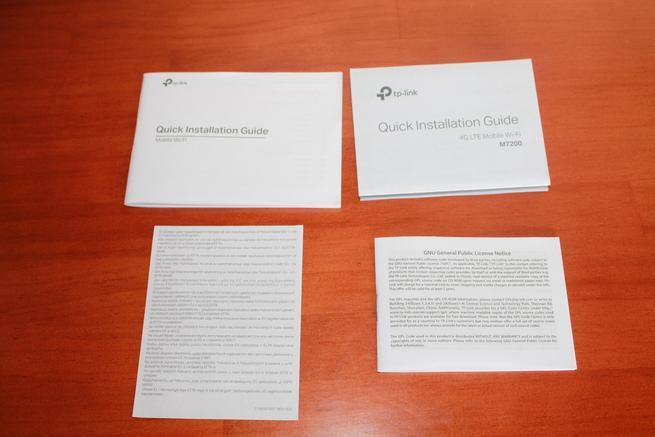 Documentación incluida en la caja del router 4G TP-Link M7200