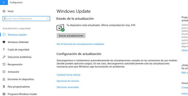 Equipo Windows 10 actualizado