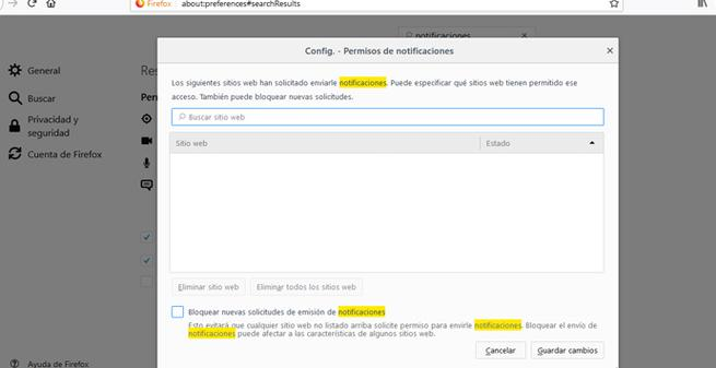Bloquear mensajes emergentes en Firefox