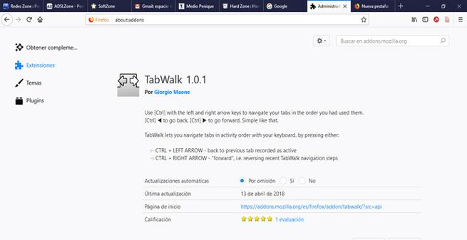 TabWalk ahorra tiempo con Firefox