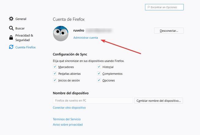 Abrir administar cuenta Firefox