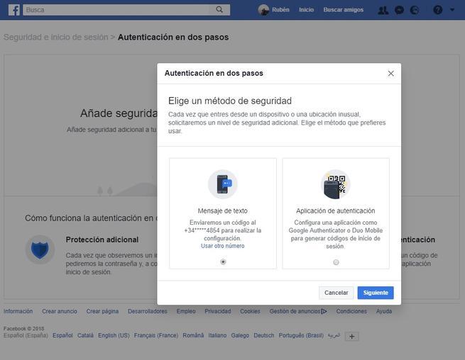 Activar sistema doble autenticacion Facebook