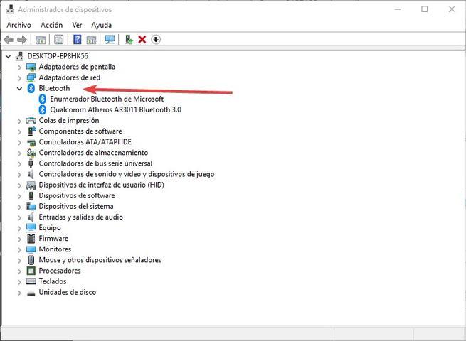 Administrador de dispositivos Bluetooth Windows 10