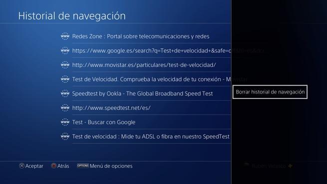 Borrar historial navegador PS4