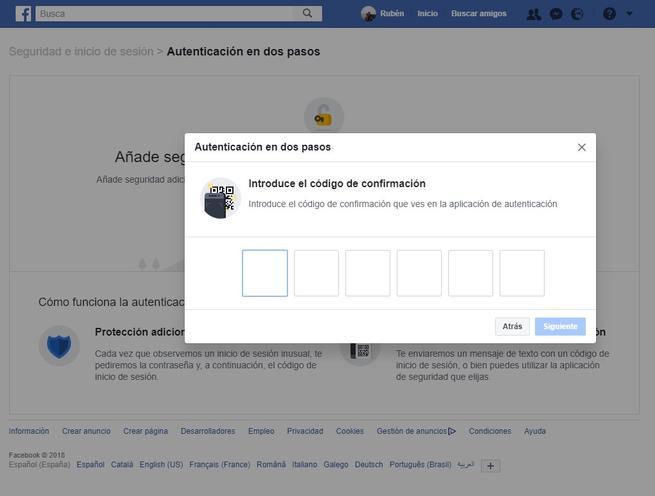 Código 2FA Facebook