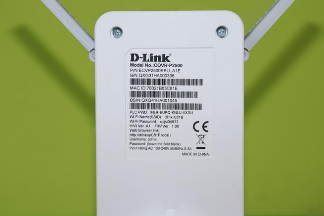 Pegatina con datos Wi-Fi y credenciales de acceso del D-Link COVR-P2502