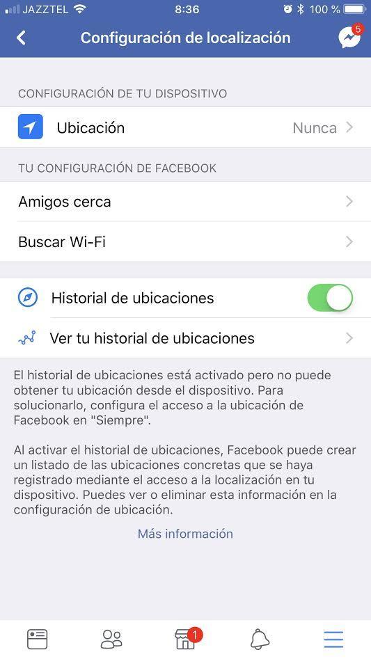 Desactivar ubicación Facebook iOS