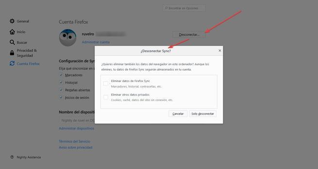 Eliminar datos desconectar Firefox Sync