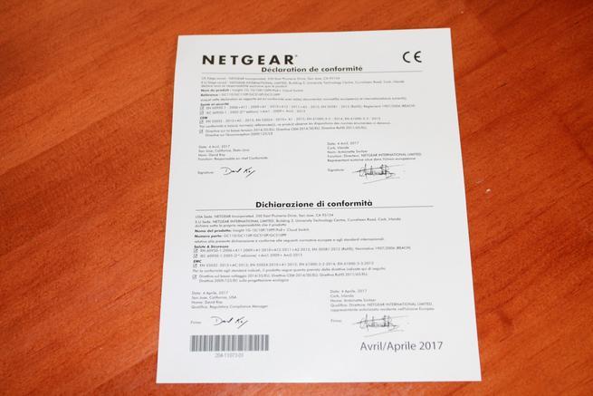 Declaración de conformidad del switch NETGEAR GC110P