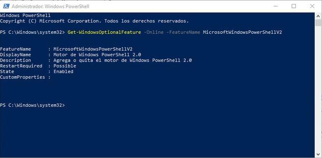 PowerShell 2.0 en Windows 10