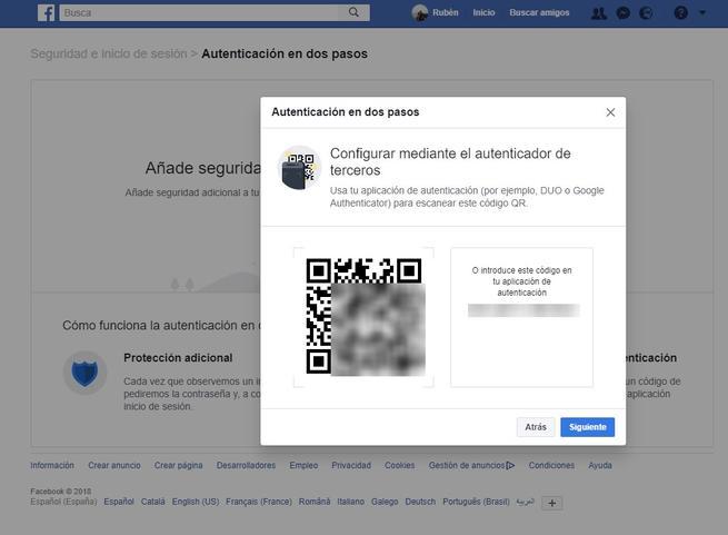 QR vincular 2FA Facebook