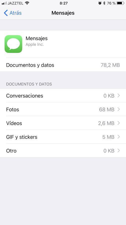 Tamaño app mensajes iOS