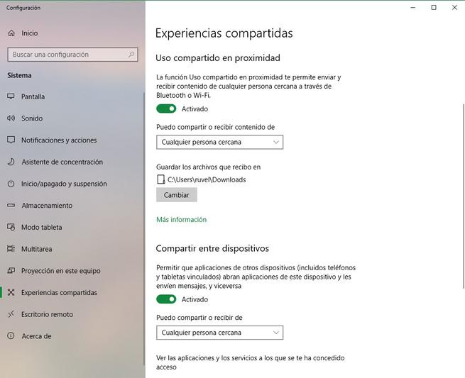 Windows 10 April 2018 Update Opciones Experiencias Compartidas