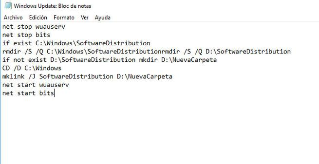 Cambiar ubicación de la carpeta de descargas de Windows Update