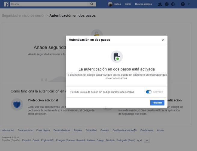 doble autenticación activada en Facebook