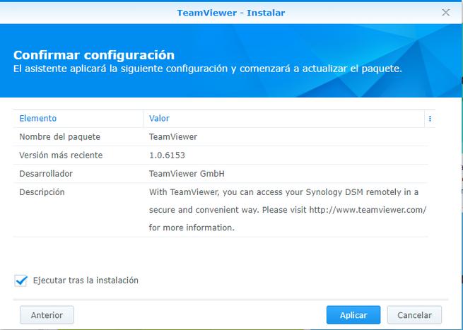 Versión de TeamViewer para NAS Synology