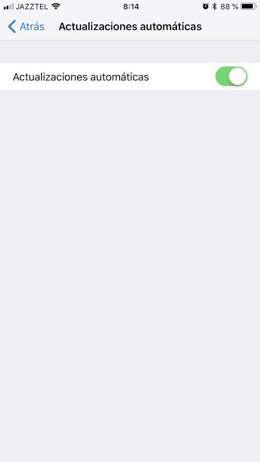 Actualizaciones automáticas de iOS activadas