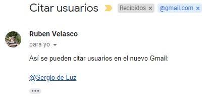 Correo citar usuarios Gmail