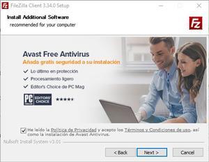 Instalar FIleZilla Adware