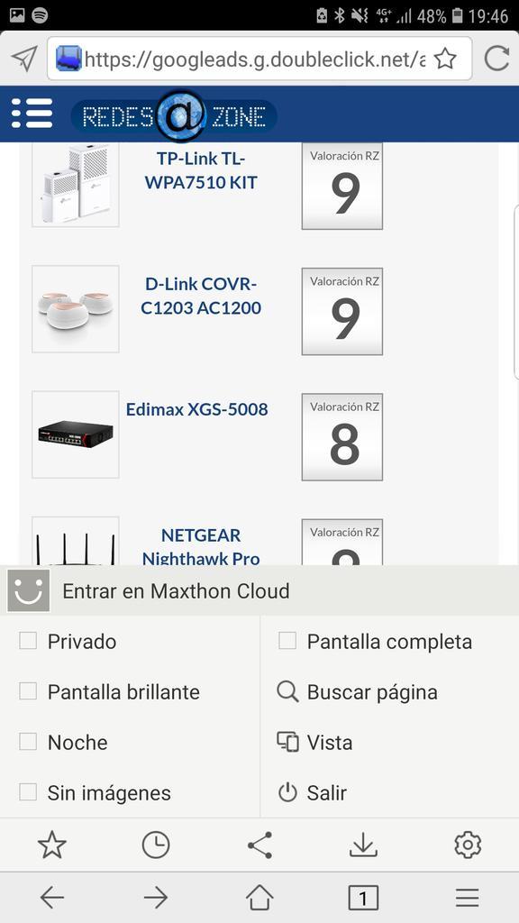 Maxthon 5 menú de opciones inferior