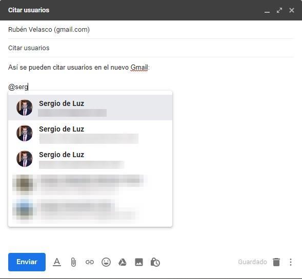 Mencionar contactos correo Gmail