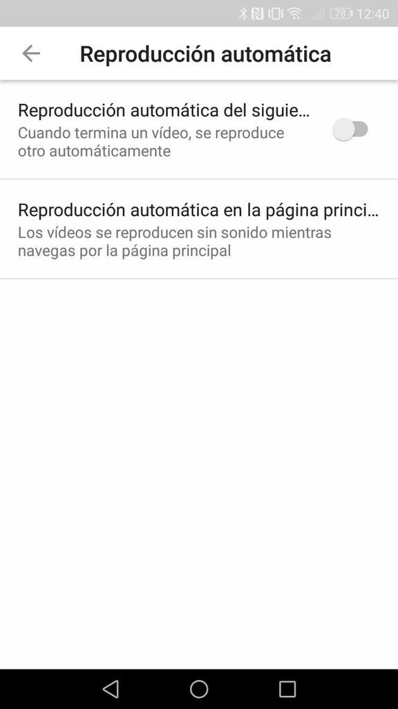 Reproducción automática app YouTube Android