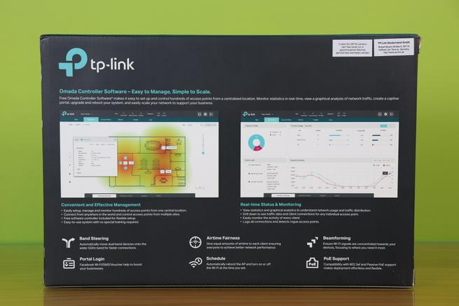 Trasera de la caja del AP profesional TP-Link EAP225 en detalle