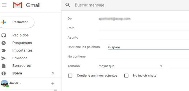 Filtro de Spam en Gmail