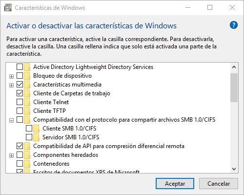 Activar o desactivar SMB CIFS 1.0 Windows 10