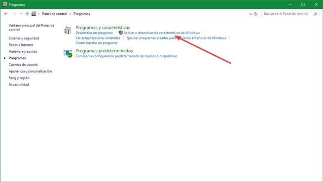 Activar o desactivar características de Windows 10