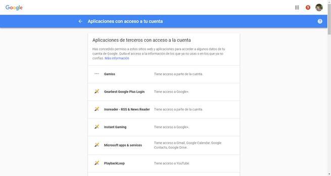 Aplicaciones de terceros con acceso a la cuenta de Google