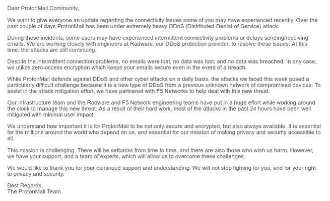 Ataque DDoS ProtonMail H1 2018