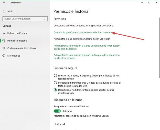 Cambiar lo que Cortana sabe en Windows 10