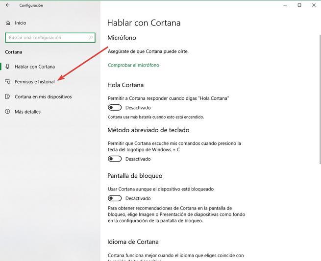 Configuración Cortana - Permisos