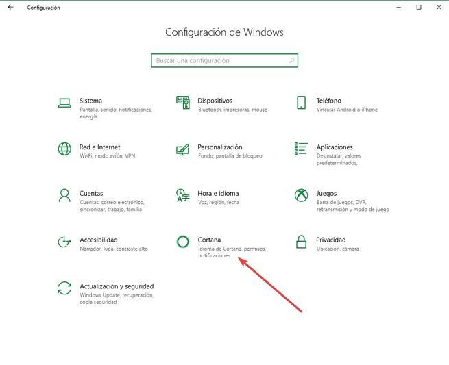 Configuración - Cortana Windows 10