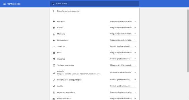 Configurar permisos sitio web Google Chrome