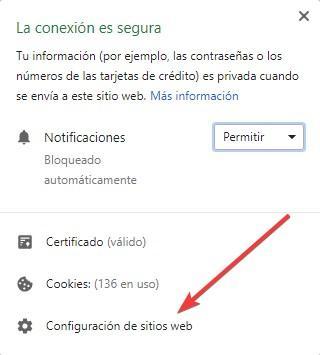 Configurar permisos web Google Chrome