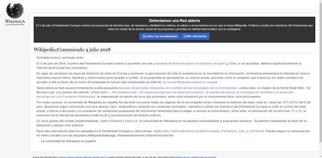 Protesta Wikipedia cerrada