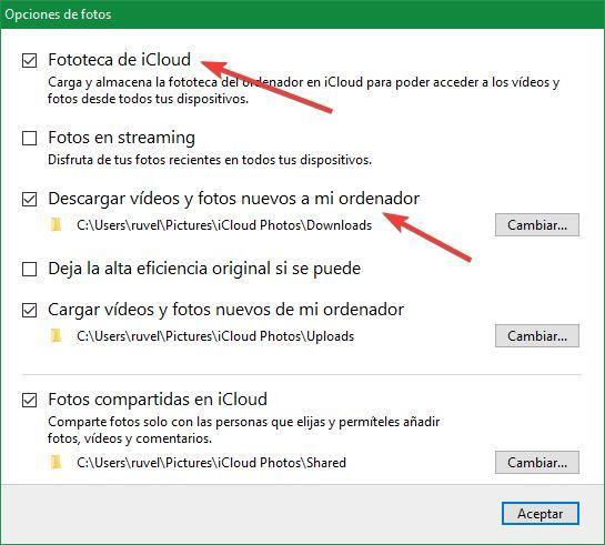 iCloud descargar fotos nube pc
