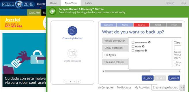 Tipos de archivos para realizar la copia de seguridad