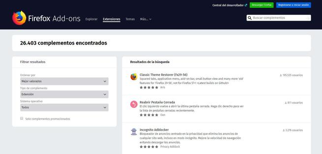 AMO tienda extensiones Firefox